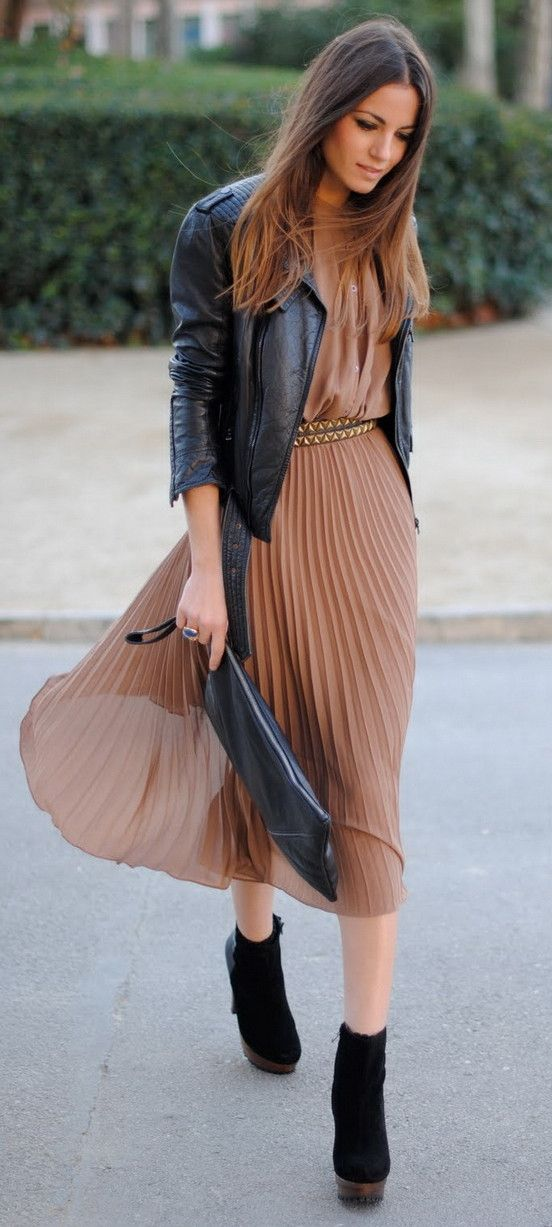 ocher pleated midi dress, black suede boots and a black leather jacket