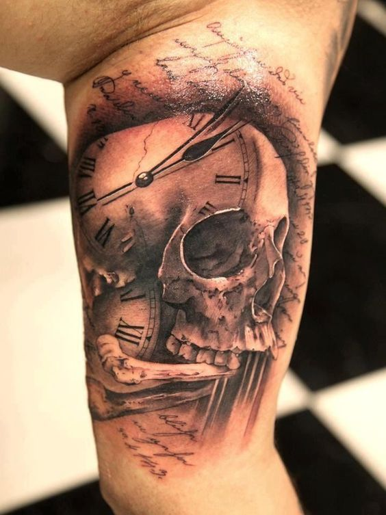 a clock, skull and bone tattoo meaning how fast the time goes