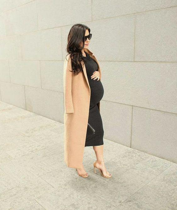a grey midi dress, a camel coat and heels