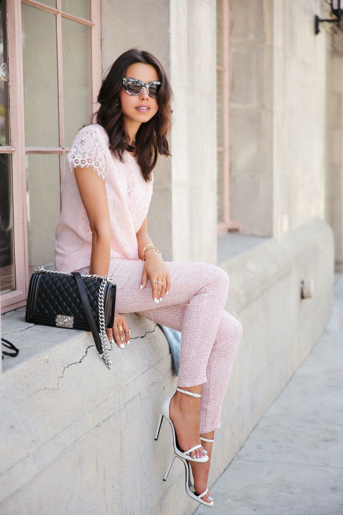 all-blush look with pants and white sandals