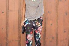 11 black floral pants, a grey t-shirt and floral shoes