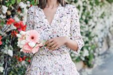 11 delicate floral mini dress with half sleeves and a V-neckline