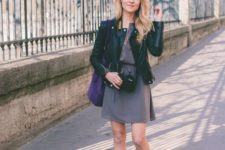 11 suede flat boots, a grey dress and a black leather dress