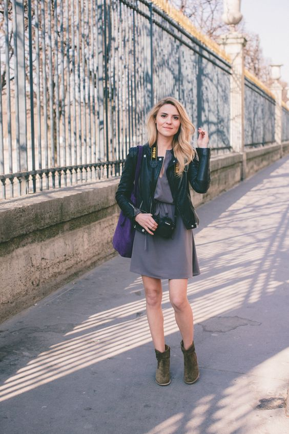 suede flat boots, a grey dress and a black leather dress