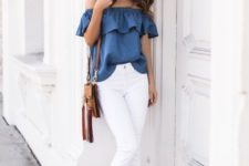 11 white jeans, a blue off the shoulder top and sandals of the same shade