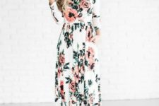12 a delicate long sleeve floral maxi dress