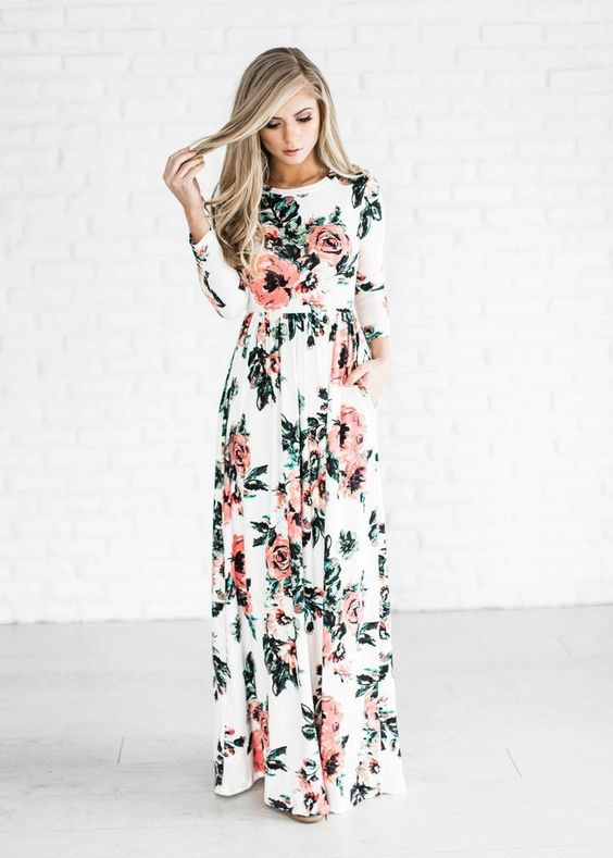 a delicate long sleeve floral maxi dress