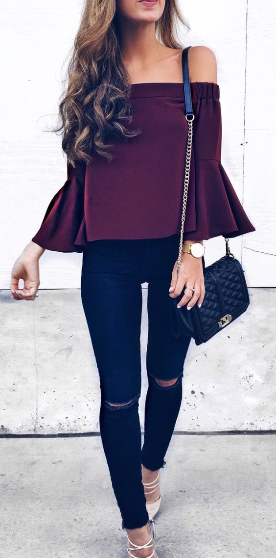 20 Trendy Spring Outfits With Off The Shoulder Tops - Styleoholic