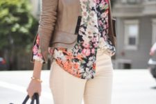 12 creamy pants, a floral blouse and a brown leather jacket