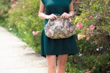 13 an emerald mini dress, bold loafers and a vintage floral handbag