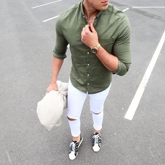 15 spring white jeans outfits for men styleoholic for White pants denim shirt