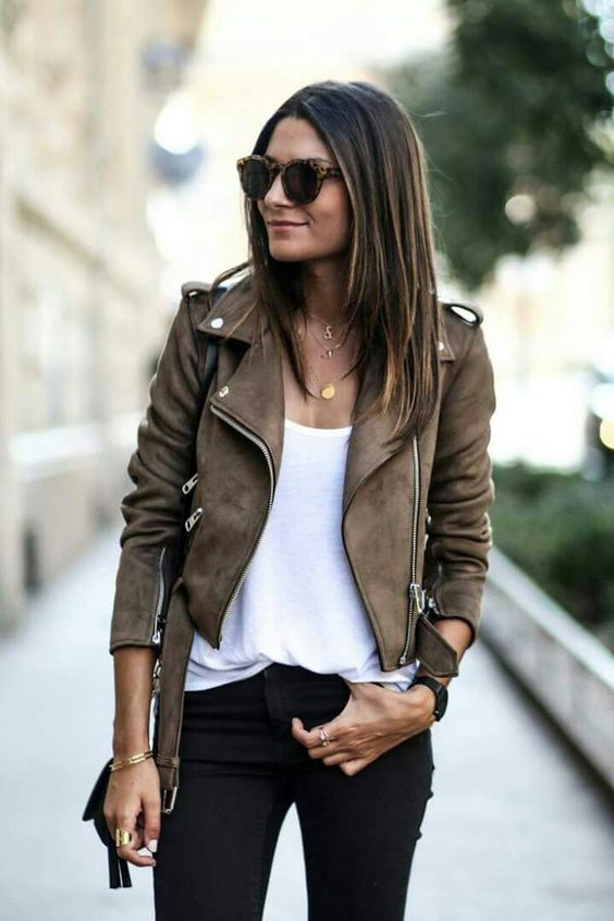 black jeans, a white tee and a brown suede jacket