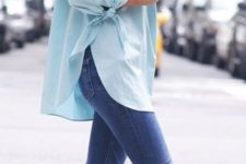13 blue skinnies, a mint off the shoulder and nude heels