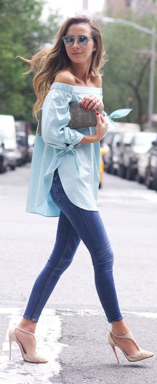blue skinnies, a mint off the shoulder and nude heels
