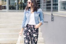 13 pink lace up flats, floral print pants, a white tee and a denim jacket