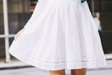 14 a little white eyelet dress with half sleeves and white heels
