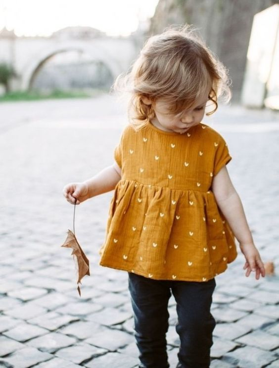 a yellow heart dress, navy jeans is an easy casual look