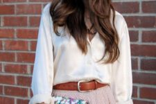 14 an ivory blouse, a blush polka dot skirt with a leather belt and a small floral clutch