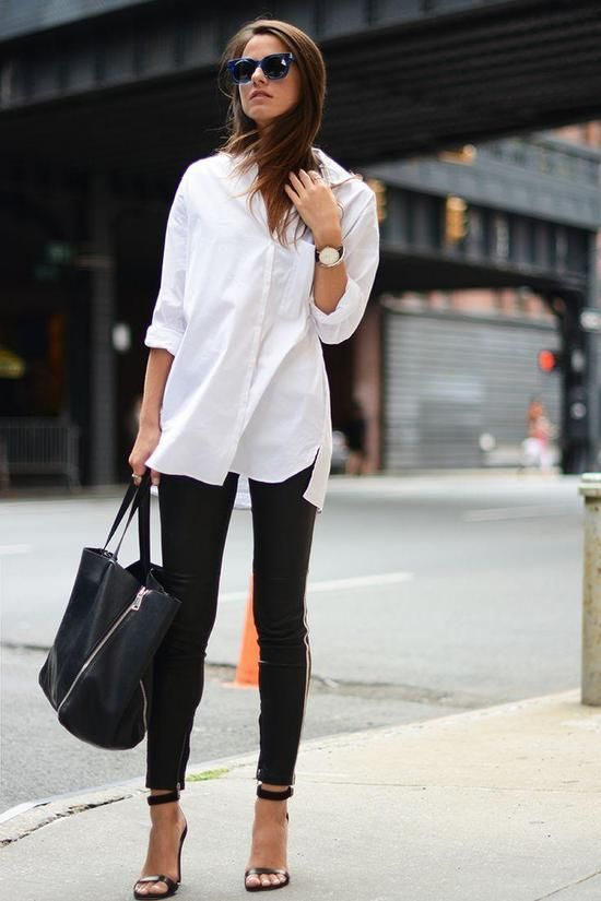 black leather pants, a white shirt and black lacquer sandals