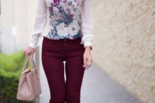 14 burgundy trousers, a floral blouse, pink heels