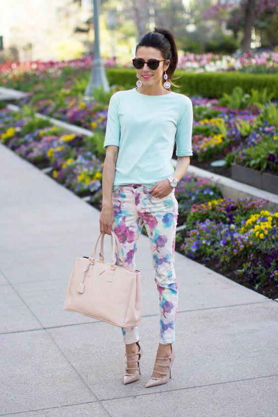 watercolor floral pants, a mint top with short sleeves and blush lace up shoes