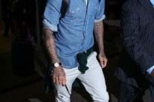 14 white jeans and sneakers, a chambray shirt over a white tee