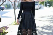 15 a black off the shoulder top, a cut off midi skirt and heels for some special occasion