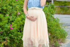 15 a blush midi skirt, a chambray top and sandals
