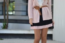 15 a mini dress in blush and black, a blush cardigan with a belt and heels