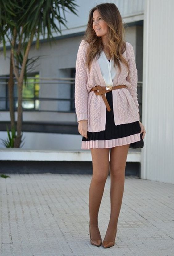 a mini dress in blush and black, a blush cardigan with a belt and heels