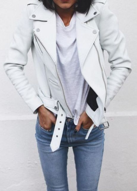 blue denim, a white tee and a leather jacket