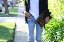15 blue ripped cropeed jeans, a white tee, a black blazer and black ankle strap sandals
