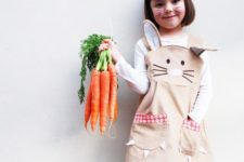 15 bunny dress with ears and pockets, a white long sleeve