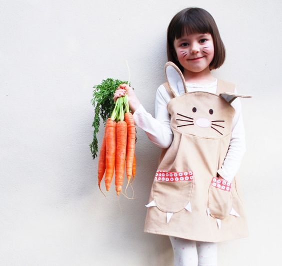 bunny dress with ears and pockets, a white long sleeve