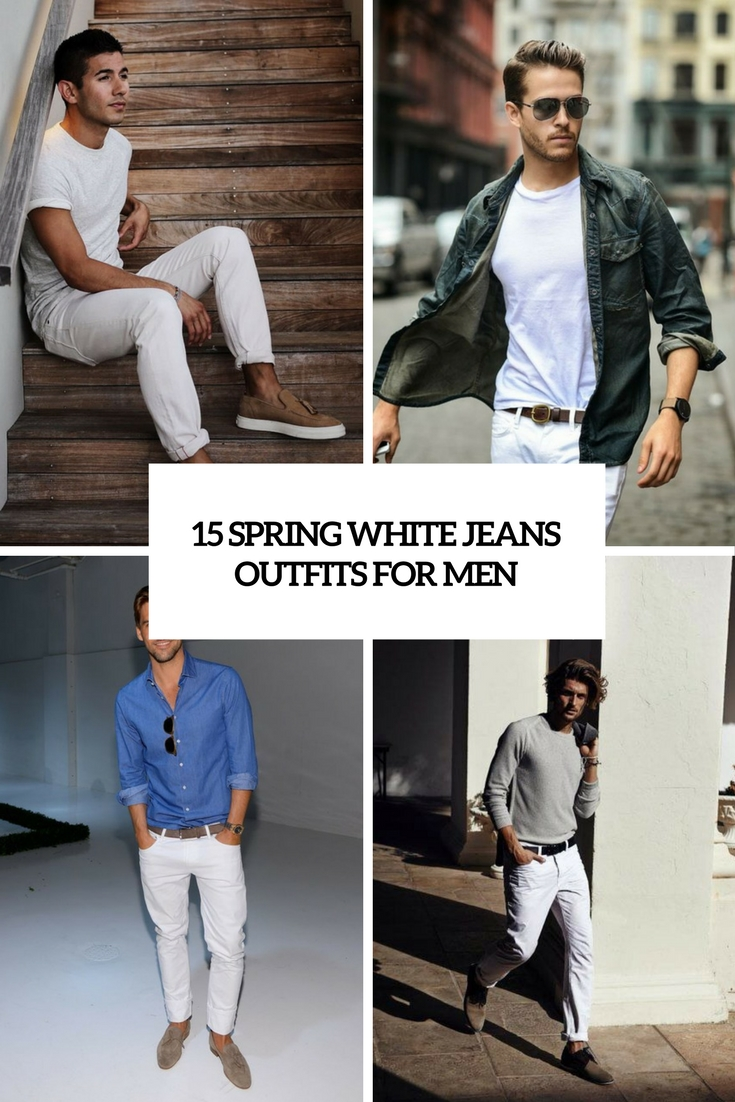spring white jeans outfits for men cover