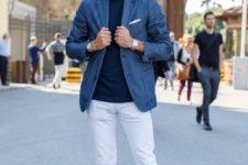 15 white jeans, a blue tee, a blue blazer and blue chucks