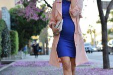 16 a bold blue dress, a blush coat and blush heels