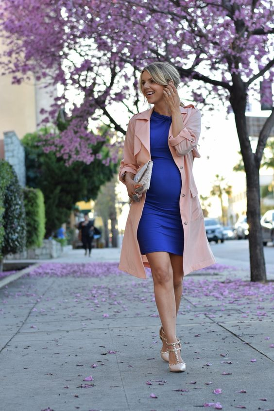 a bold blue dress, a blush coat and blush heels
