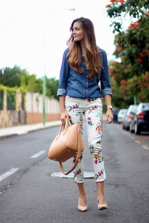 a chambray shirt, cropped floral pants and nude heels
