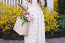 16 a white lace midi dress and pink heels