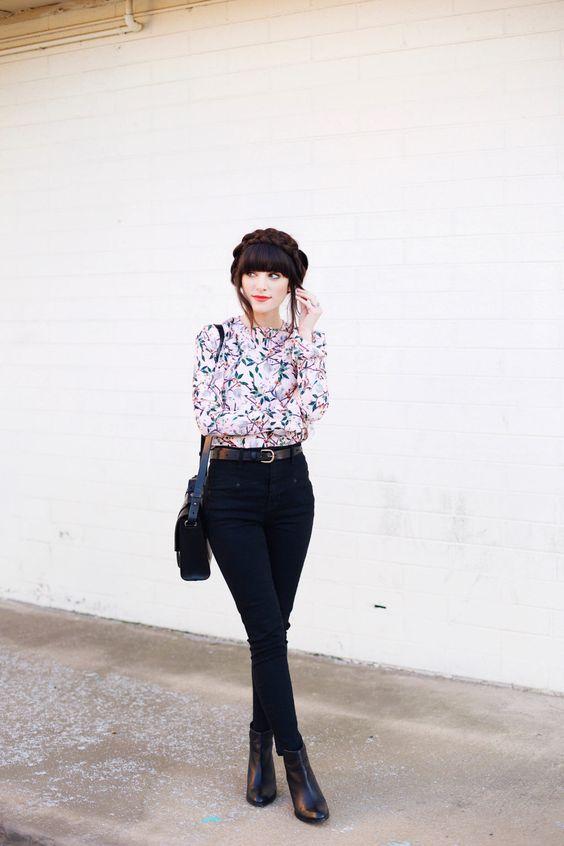 black denim, a subtle floral blouse and leather boots