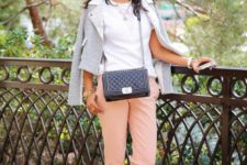 16 blush pants, a white tee, a grey blazer and white and black shoes
