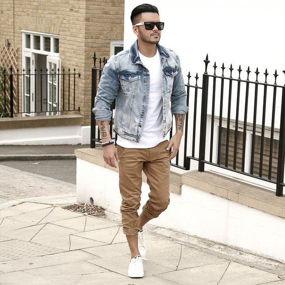 camel pants, a white tee, a denim jacket and white chucks