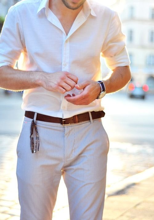 light grey pants, a white shirt is an easy and stylish combo