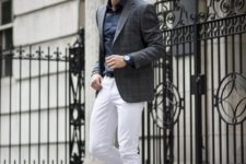16 white jeans, a navy shirt, a grey windowpane jacket and brown shoes