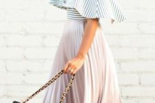 17 a blush pleated midi skirt, a striped off the shoulder and nude heels