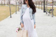 17 a flowy white dress, a distressed denim jacket and platform shoes