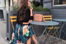 17 a full floral skirt, a black top with half sleeves, nude heels
