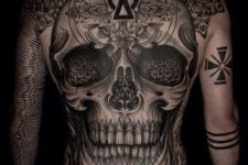 17 black and white skull backpiece that takes it all