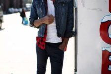 17 dark pants, a white tee and a checked shirt, a denim jacket and white sneakers